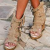 JUSTMAE Sandalias de Plataforma con Punta Abierta, Sandalias de cuña Alta para Mujer, Zapatos de Verano Informales con Flecos Vintage para Mujer