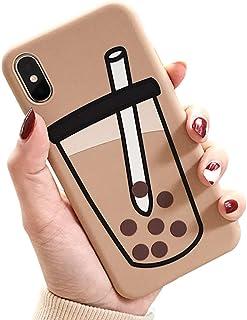UnnFiko 3D Cartoon Case Compatible with iPhone, Super Cute Bubble Tea Soft Silicone Rubber Bumper Cover Cool Fun Protectiv...