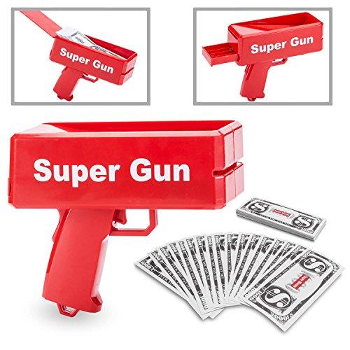 GOODS+GADGETS Super Money Gun Spielzeug Geld Pistole Party Revolver verschießt Fake Dollar Banknoten für Supreme Fun