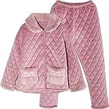 DFDLNL Pijamas de Mujer de Tres Capas de Invierno Gruesa Acolchada Chica Chaqueta de Franela cálida Invierno Informal de Lana de Coral Servicio a Domicilio XL