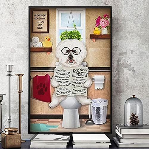 """Bichon Frise Dog Great Ideas Come from Sitting On A Toilet Full-Creative Bathroom Decoration Art for Home/Office/Bathroom/Classroom/Cafe/Bar Women Man Best Gifts 12""""x16"""""""