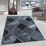 Carpettex Teppich Alfombra de diseño Pelo Corto Alfombra Sala Patrón de Redondo Cuadrícula Negro, Color:Negro, Tamano:160x230 cm
