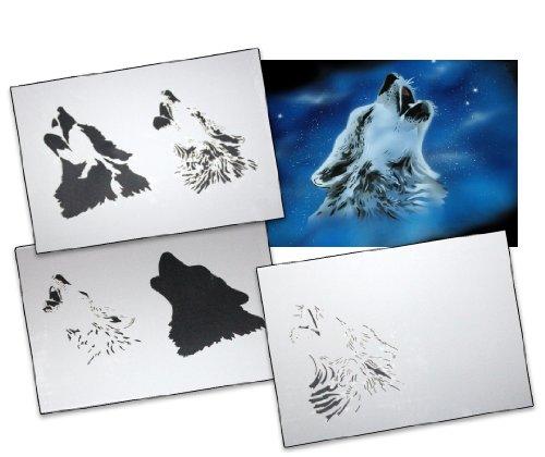 Step by Step Airbrush Schablone Wolf AS-001 L ca 23 cm x 16 cm