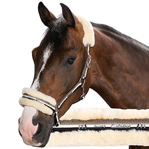 ESKADRON Halfter Dornschnalle Lammfell classic sports Herbst/Winter 2015/2016, P2 (Pony groß), walnut-white-black