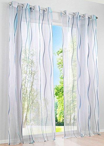 Gardine Vorhang Ösen Voile Druck Vienna Transparent Streifen Design Pflegeleicht 2 Stück HxB 245x140 cm Blau, 6100018