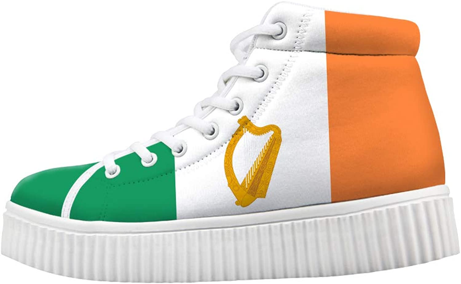 Owaheson Platform Lace up Sneaker Casual Chunky Walking shoes High Top Women Ireland Flag National Emblem