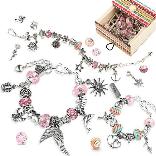 TBoonor Charm Armband DIY Kit Geschenk für Mädchen, mit 50 Elemente Perlen Anhänger und 3 Größen Silber Kette, Rosa Schmuck Armbänder Bastelset für 6 Jahre und älter Teens