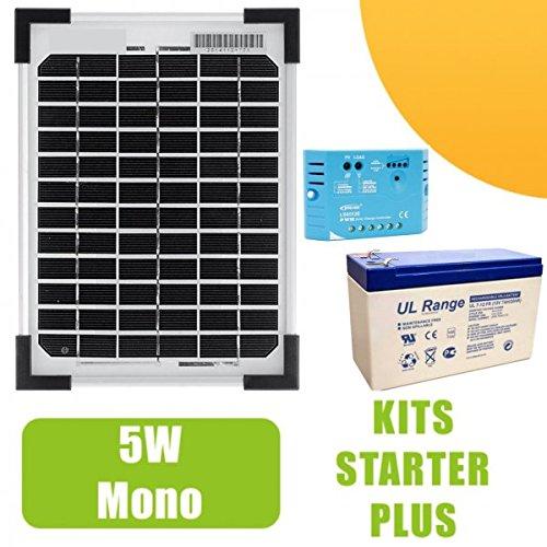 Poly NX - Kit de placa solar mono con regulador de 5 A y batería (5 W, 12 V)