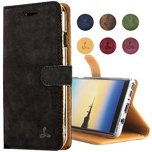 Snakehive Note 8 Schutzhülle/Klapphülle echt Leder Kartenfach mit Standfunktion, Handmade in Europa für Note 8 - Schwarz