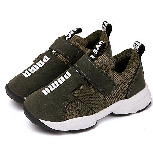 Daclay Zapatos niños Deportivo Transpirable y Transpirable con Parte Superior de Cuero cómoda con Zapatillas Velcro Sneakers (Verde Militar,25 EU)