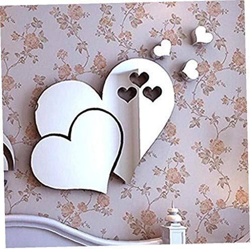 3D Removable Love Hearts Mirror Wall Decor Decal Sticker Wall Art Home Decor for Kids Room House Living Room Bedroom Bathroom Room Kitchen Cafe Restaurant Office(ps) (Silver)