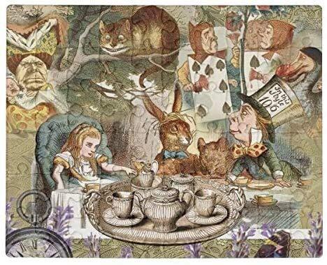 Alice Adventures En Wonderland Mad Tea Party Jigsaw Puzzle 1000 Piezas para Adulto, Entretenimiento DIY Juguetes para Graet Regalo Decoración para El Hogar Día de San Valentín Presente