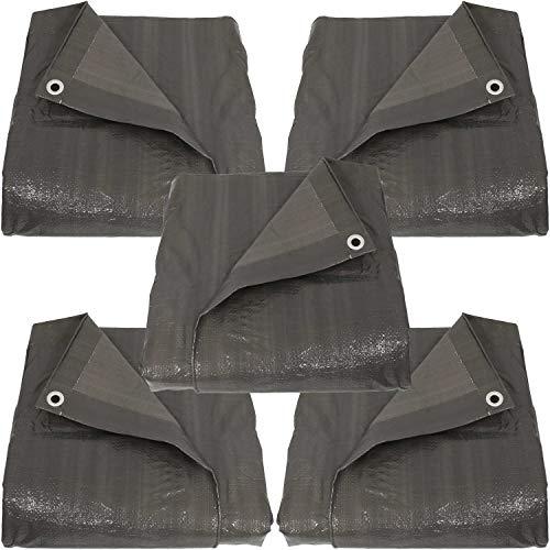 Sunnydaze 12 x 16-Foot Set of 5 Reversible Dark Grey Multi Purpose Poly Tarps