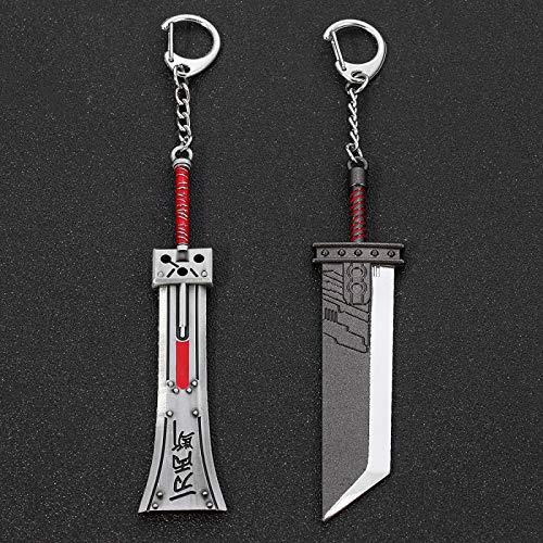YclRpro 2 uds Cloud Strife Buster Sword Llavero Hombres Final Fantasy 7 Remake Zack Fair Arma Espada de Armadura Romper Llavero Juego de Metal Llaveros