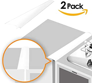 Linda's Silicone Kitchen Stove Counter Gap Cover Long & Wide Gap Filler (2 Pack) Seals Spills Between Counters, Stovetops, Washing Machines, Oven, Washer, Dryer   Heat-Resistant and Easy Clean (White)