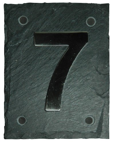 Esschert Design Set: Hausnummer 7 aus Edelstahl auf Schieferplatte (11 cm x 15 cm), Schriftbild Arial