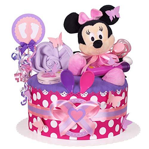 MomsStory - Windeltorte Mädchen | Minnie Mouse Disney | Baby-Geschenk zur Geburt Taufe Babyshower | 1 Stöckig (Lila-Pink) mit Plüschtier Lätzchen Schnuller & mehr