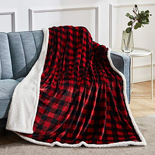 """BEAUTEX Sherpa Fleece Throw Blanket, Super Soft Warm Buffalo Plaid Plush Blankets and Throws, Lightweight Cozy Fuzzy Blanket for Couch Sofa Bed (Red, Throw 50"""" x 60"""" )"""