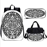 Mesoamerican Teens Backpack Set,Mayan Stars Calendar Bookbags 3 in 1 for Kids Adults