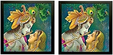 NOBILITY Radha Krishna Framed Painting Modern Wall Art Pack of 02