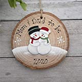 Pregnancy Ornament~ Expecting~ Pregnant Snowman Couple~ Maternity Present~ Mom And Dad to Be~ Baby Bump~ First Christmas Pregnant~ Wood Slice 2020 Pandemic Xmas Decor Wedding Ornament Holiday Present