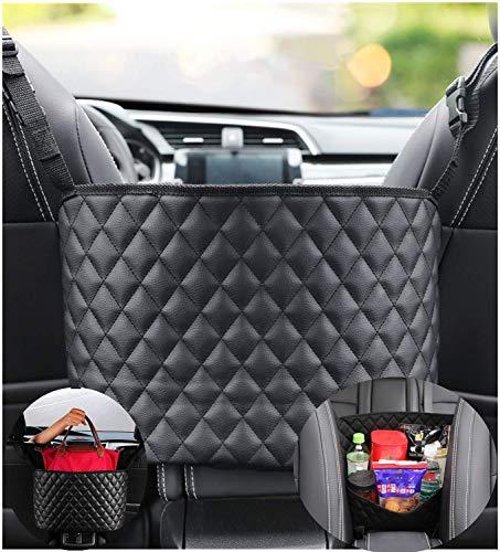 Car Net Pocket Handbag Holder,Leather Seat Back Organizer Mesh Large Capacity Bag,Driver Storage Netting Pouch,Handbag Holder Front Seat Storage,Car Purse Storage&Pocket,Barrier of Backseat Pet Kid