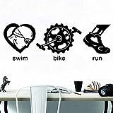 CDNY Pegatinas de Pared de triatlón Juegos Olímpicos Bicicleta de natación Correr Deportes calcomanías de Pared de Vinilo Sala de jóvenes decoración del hogar 57x20cm