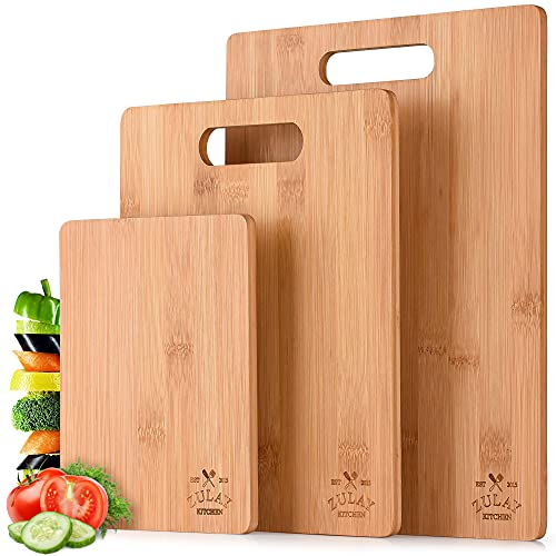 Zulay (3-Piece) Bamboo Wooden Cutting Boards For Kitchen - Premium 3 Assorted Sizes Wood Cutting Board For Cooking & Serving - Bamboo Cutting Board Set For Veggies, Meat, Cheese & More