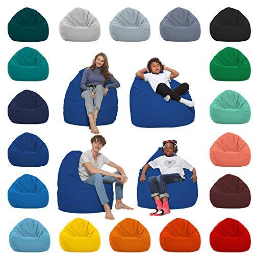 HomeIdeal - Sitzsack XXL Bodenkissen für Erwachsene & Kinder - Geeignet für Gaming oder Entspannen - Indoor wie Outdoor da er Wasserfest ist - mit EPS Perlen, Farbe:Blau, Größe:XL