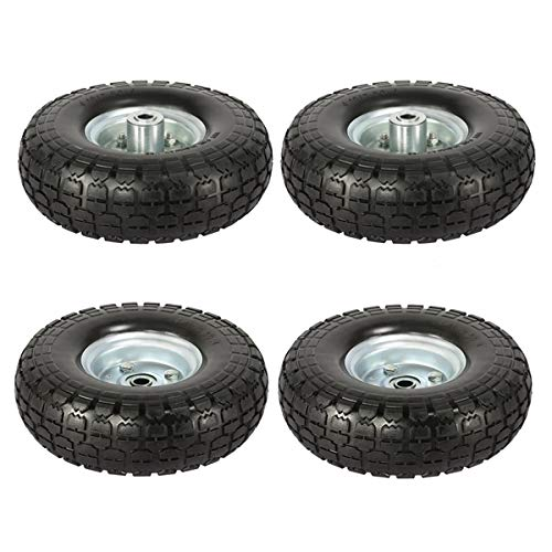 Yaheetech Solid Wheelbarrow Tires Sack Truck Cart Wheel 5/8-inch Bearings for Lawn/Garden/Beach/Trolley/Wagon 4 Pack 10-inch