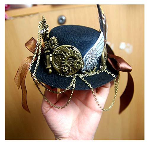 Mode Steampunk Hat Rétro Femmes Bleu foncé Mini Steampunk Top Hat ENGINS Derby Hat for Les Hommes Chapeau Melon Chapeau Punk (Couleur : Noir, Taille : 13cm)