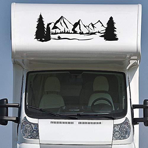 Pegatina Promotion Wohnmobil Wohnwagen Aufkleber Schöne Landschaft mit Bäumen & Bergen ca 160cm Sticker Autoaufkleber