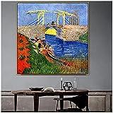 zkpzk Vincent Old Famous Master Artista Langlois Bridge En Arles Lienzo Pintura Póster Impresión par...