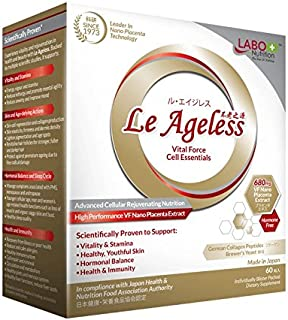 LABO Nutrition Le Ageless – Placenta Cell Rejuvenating Therapy from Japan – Enhanced with Collagen Peptide and Brewer's Yeast to Supports Immune Health, Skin Regeneration, Anti-Aging – 60 Capsules