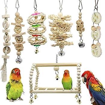 IWILCS Lot de 7 jouets à mâcher pour oiseaux, perroquets, perroquets, avec hamac en bois naturel, perche suspendue, pour perruches, aras, perroquets, oiseaux d'amour