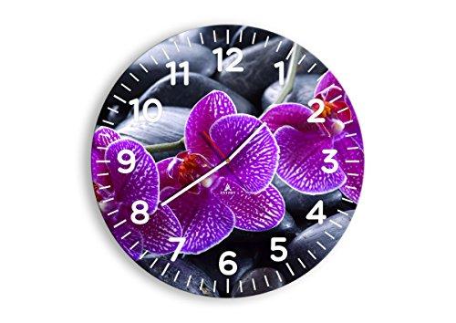 Wanduhr - Rund - Glasuhr - Breite: 50cm, Höhe: 50cm - Bildnummer 0440 - Schleichendes Uhrwerk - lautlos - zum Aufhängen bereit - Kunstdruck - C4AR50x50-0440