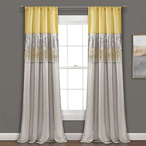 """Lush Decor Yellow and Gray Night Sky Panel for Living, Bedroom, Dining Room (Single Curtain), 84"""" x 42"""""""