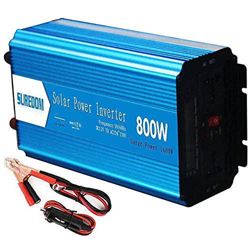 FHISD Inversor de Corriente de 800W DC 12V 24V a 110V 220V AC Convertidor Inversor de energía de Onda sinusoidal Pura con Encendedor de Cigarrillos - Adaptador de enc