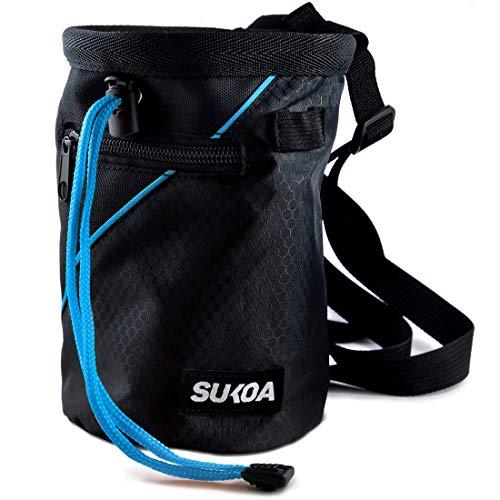 Sukoa Kreidetasche für Klettern – Boulder-Kreidebeutel Eimer mit Schnellclip-Gürtel und 2 großen Reißverschlusstaschen – Kletterausrüstung (blau)