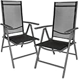 TecTake Set di alluminio sedie da giardino pieghevole con braccioli - disponibile in diversi colori e quantità - (Grigio scuro | 2 sedie | no. 401633)