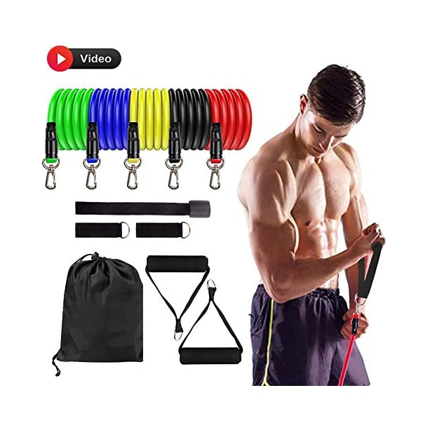 DMYCO Resistance Bands Set – Stackable Exercise Bands Up to 150 Lbs with Door Anchor, Handles, Waterproof Carry Bag and Legs Ankle Straps for Resistance Training, Physical Therapy, Home Workouts