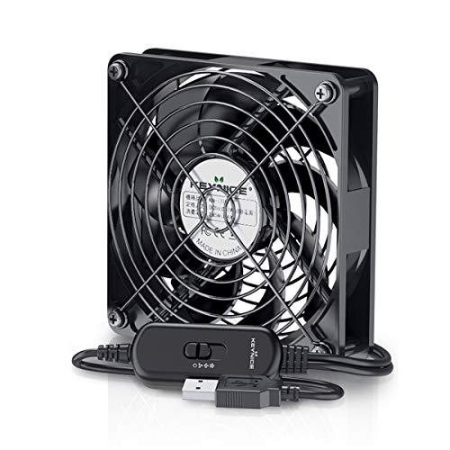 KEYNICE USBファン 静音 冷却ファン 強力 冷却 パソコン 送風機 扇風機 ミニファン 小型 ファン 9枚羽根 ルーター 水槽 冷却 薄型 12cm