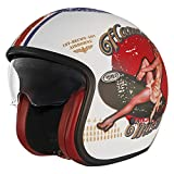 Premier Casco Vintage Pin Up Old Style Silver,Gris / Rojo /