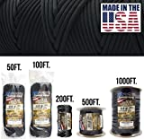 TOUGH-GRID 550lb Black Paracord/Parachute Cord - 100% Nylon Genuine Mil-Spec...