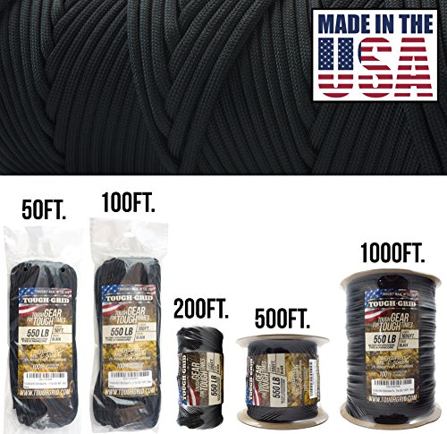 TOUGH-GRID 550lb Black Paracord/Parachute Cord - 100% Nylon Genuine Mil-Spec Type III Paracord Used by The US Military - (MIL-C-5040-H) - Made in The USA. 200Ft. - Black