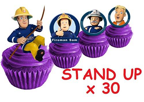 30x Feuerwehrmann Sam Party Stand up Essbare Papier Cupcake Topper Kuchen Dekorationen