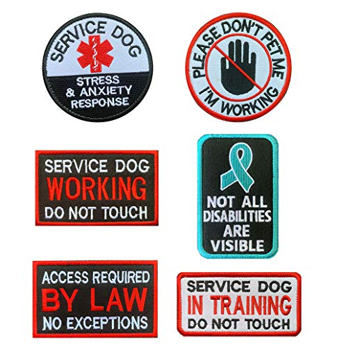 Antrix 6 Pcs Service Dog Working in Training Do Not Touch Pet Stress & Anxiety Response Access Required by Law No Exceptions Tactical Hook & Loop Emblem Badge Patch for Medium and Large Dogs Harness