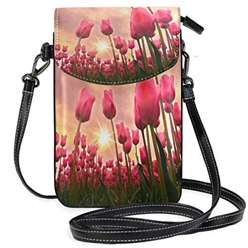 Tulip Fields Monedero del Monedero del teléfono Celular para Mujer Chica Pequeño Bolso Bandolera-P7