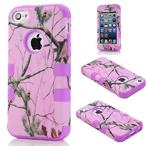 For iphone 5c Case,Kecko(TM) Defender Body Armor Realtree Camo High Impact Tough Silicon Rubber Military Rugged Protective Case with Camouflage Wood Design for iphone 5C Only (Pink Tree Purple)