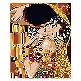 BPAINTF Pintura por números DIY Golden Kiss Hombres y Mujeres Figura Lienzo Cuadros para decoración del hogar Regalo 50x65 cm DIY Enmarcado